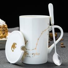 Load image into Gallery viewer, 12 Constellations Creative Ceramic Mugs with Spoon Lid Black and Gold Porcelain Zodiac Milk Coffee Cup 420ML Water Drinkware