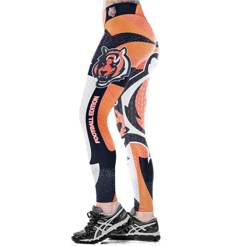 Unisex Football Team Bengals Print Workout Gym Training Running Yoga Leggings