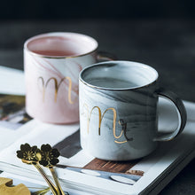 Load image into Gallery viewer, MR. & MRS Classic Marble Porcelain Coffee Mugs, Hand Painted Ceramic