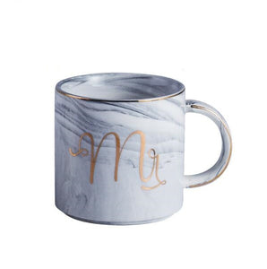MR. & MRS Classic Marble Porcelain Coffee Mugs, Hand Painted Ceramic