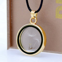 Load image into Gallery viewer, Real Dandelions Seed Floating Locket Glass Pendant Necklace, Plants Wish Locket Necklaces