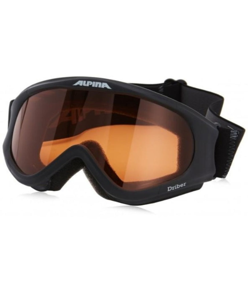 Alpina Driber Goggles are , sporty and helmet-compatible. Singleflex lens technology.Antifog system.Black frames. Adaptable side strap