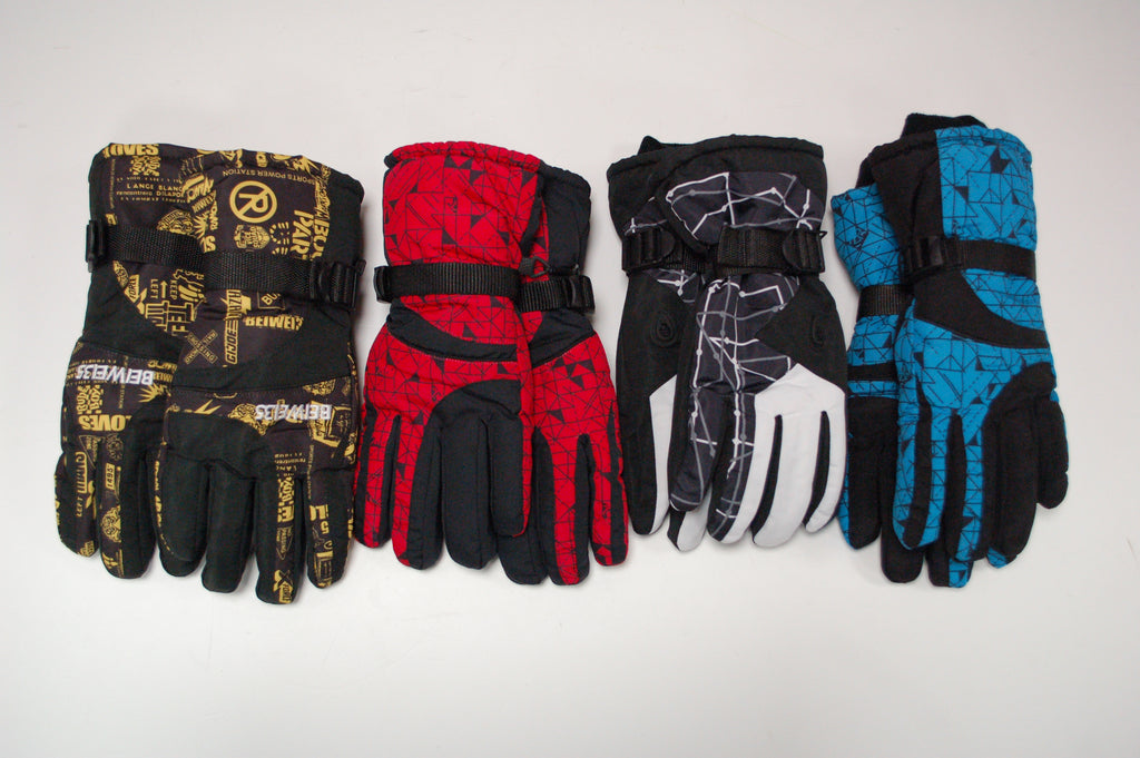 Beiwei ski gloves yellow red white and blue