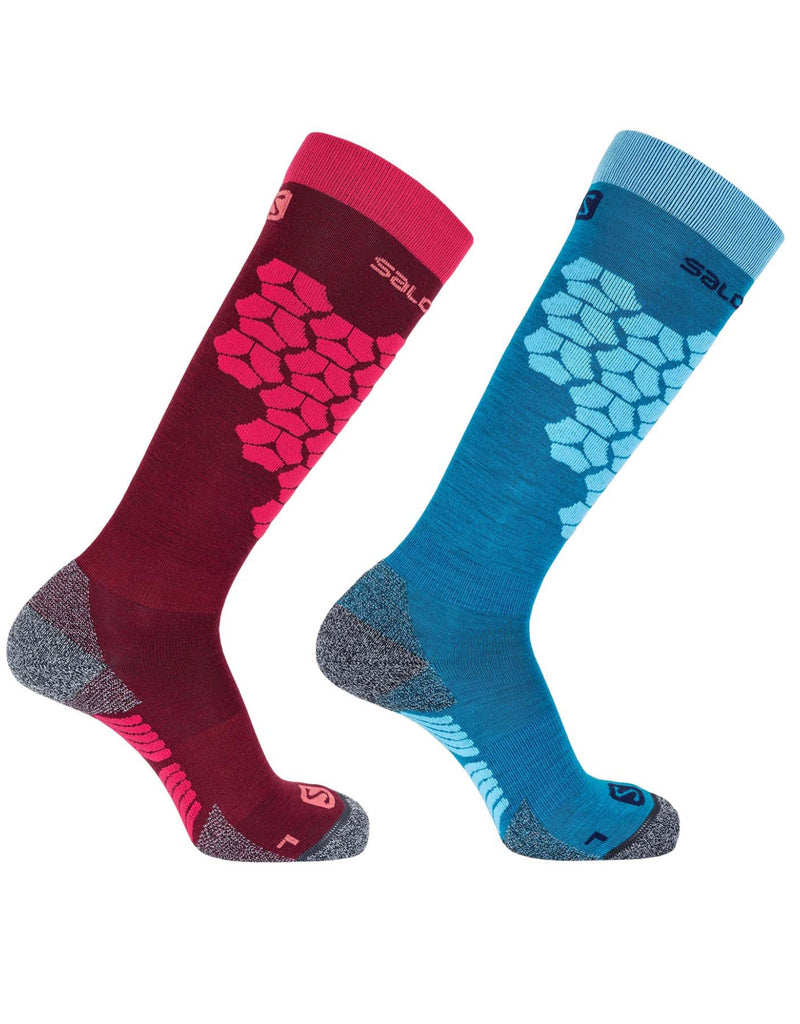 Salomon Access Merino Ski Socks 2 Pairs Red/blue