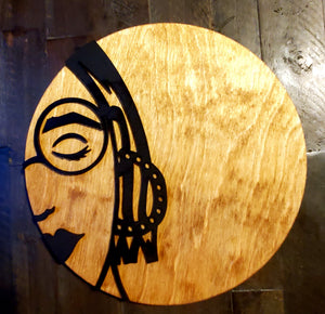 12 Inch Round Girl W/ Earrings Sign