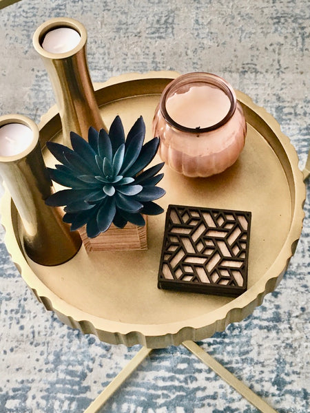 Square Wooden Coaster Set