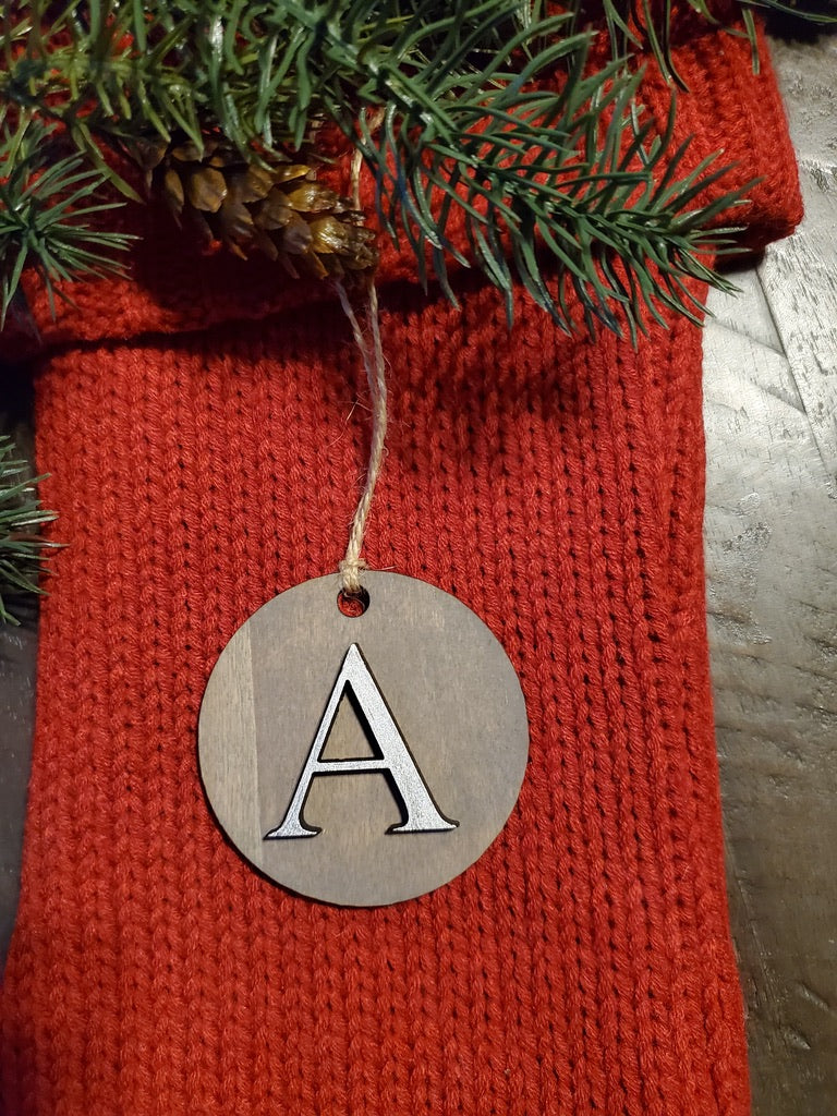 Round Monogram  Christmas Tag