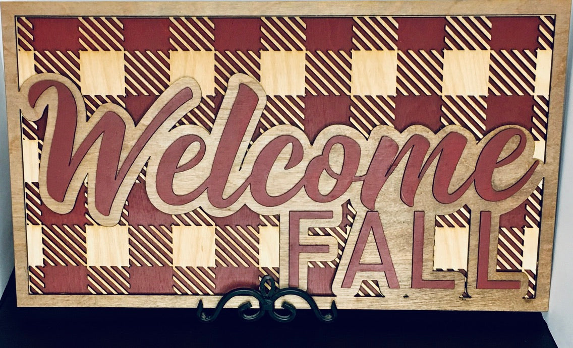 "10.5"" x 19"" Inch Fall Welcome Sign"