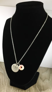 Donut Worry Be Happy Donut Necklace with Card