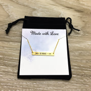 Be Brave Bar Necklace, Rose Gold, Silver, Gold