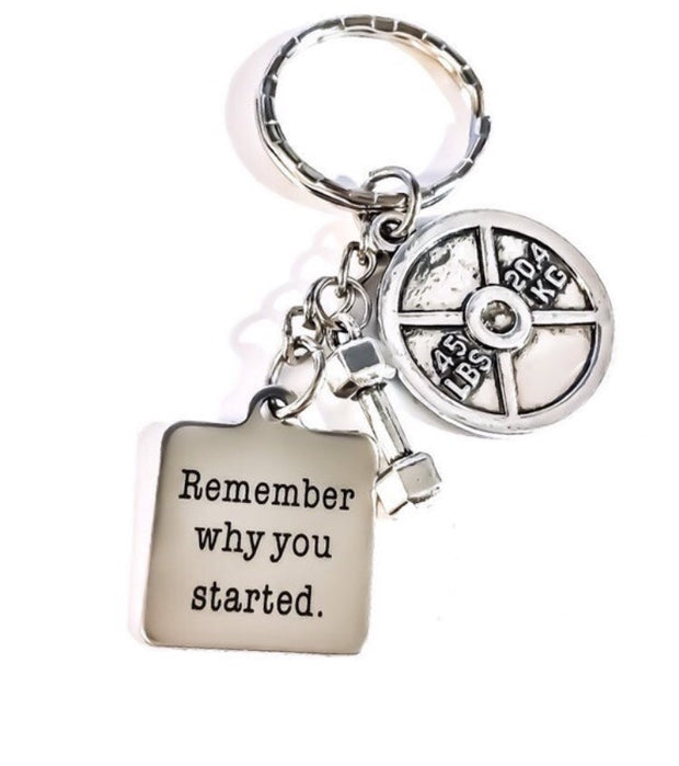Remember Why You Started Motivational Fitness Keychain, Dumbbell