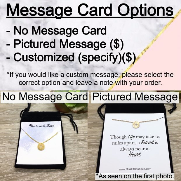 Tiny Compass Necklace, Friendship Quote Card, Rose Gold, Silver, Gold