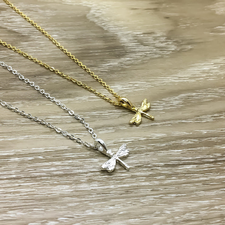 Tiny Dragonfly Necklace, Gold, Silver