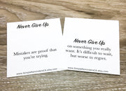 Never Give Up, Silver Dumbbell Necklace with Card, Motivational