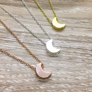 Crescent Moon Necklace, Rose Gold, Silver, Gold