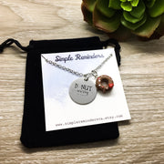 Donut Worry Be Happy Donut Charm Necklace with Card, Silver