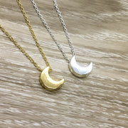 Dainty Crescent Moon Necklace, Gold, Silver
