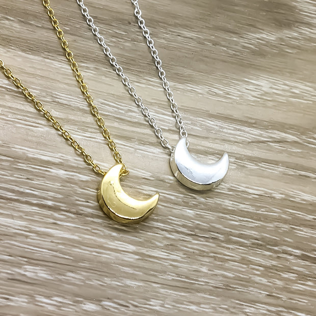 Crescent Moon Necklace, Lunar Jewelry, Gold, Silver