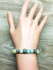 Beige, Yellow, Green Owl Beaded Bracelet