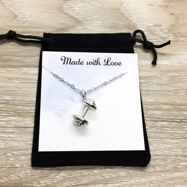 Never Give Up Silver Dumbbell Necklace with Card, Silver