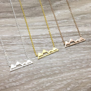 Inspirational Mountain Range Necklace with Card, Rose Gold, Silver, Gold, Stainless Steel