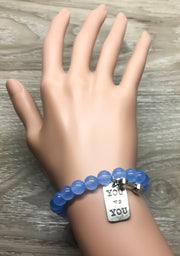 Blue Fitness Beaded Bracelet, Dumbbell, Crossfit