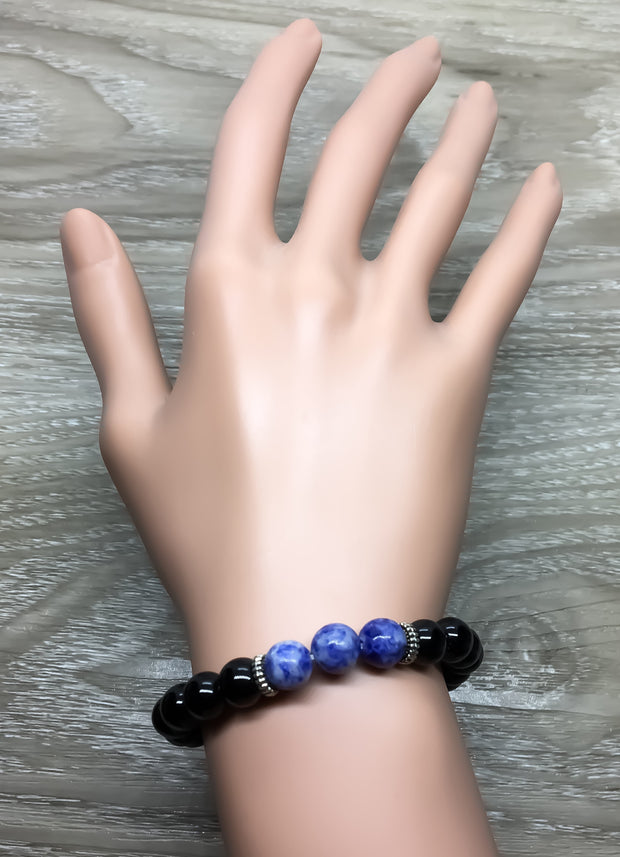 Glossy Black and Blue Beaded Bracelet