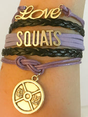 Love Squats Fitness Multilayered Charm-Bracelet, Purple, Pink