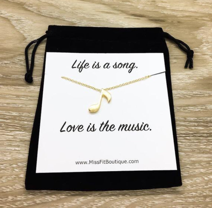 Music Note Necklace, Life is a Song, Silver, Gold