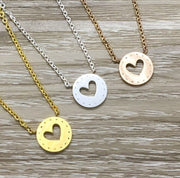 Heart-Shaped Hole Necklace, Silver, Rose Gold, Gold