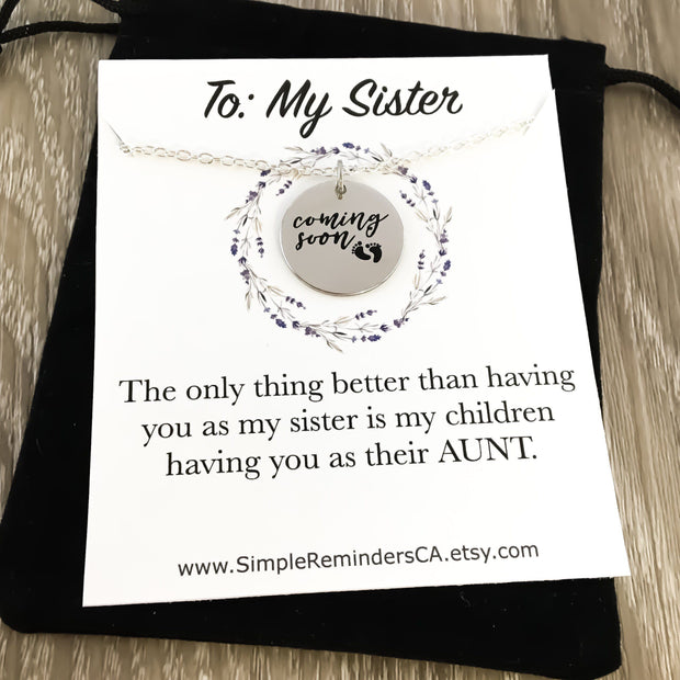 Aunt Coming Soon, Baby Coming Soon Necklace, Pregnancy Announcement Gift, Best Sister Gets Promoted To Aunt, New Aunt To Be Gifts, Sisters
