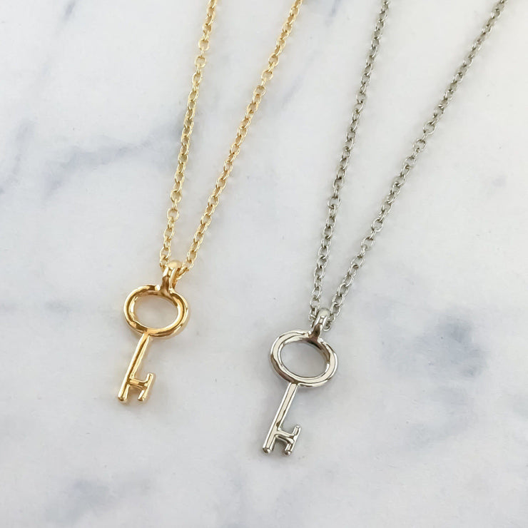 Dainty Gold Silver Key Necklace, Key To Success Necklace, Graduation Gift Ideas, Gold Minimalist Jewelry, Simple Silver Key Necklace, Gifts