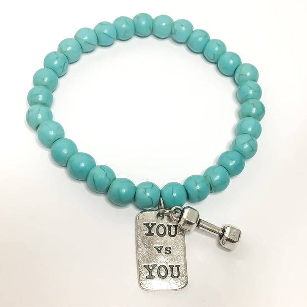 Fitness Beaded Charm Bracelet, Dumbbell Charm, Fitness Jewelry, Fitness Gifts, Beaded Bracelet, Gift Idea, Gym Coach, Inspire, Crossfit Gift