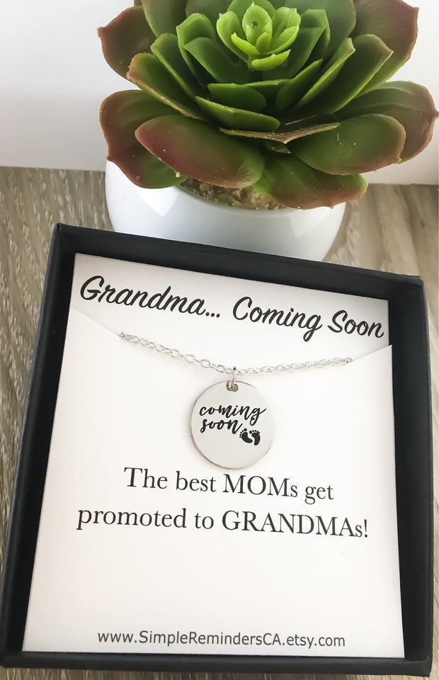 Grandma Coming Soon, Baby Coming Soon Necklace, Pregnancy Announcement Gift, Grandma Gift, Expecting Mother Necklace, New Mom Gifts, Mother