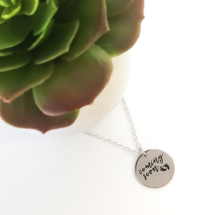 Grandma Coming Soon, Baby Coming Soon Necklace, Pregnancy Announcement Gift, Grandma Gift, New Baby Necklace, New Mom Gifts, Expecting Mom