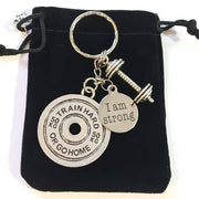 I Am Strong, 50kg Weight Plate, Fitness Keychain, Workout, Fitness Jewelry, Gift Ideas, Coach, Motivation, Gym Keychain, Bodybuilding, Gifts