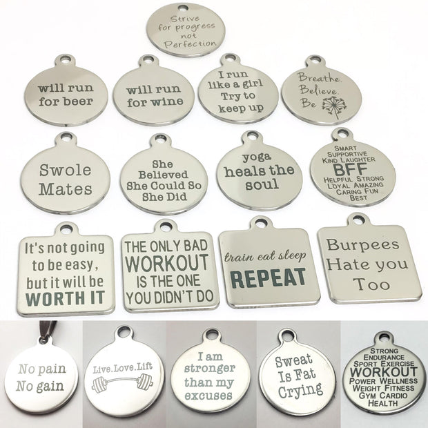 Fitness Charms, Motivational Quote Jewelry, Gym Jewelry, Crossfit Gifs for Her, Burpees, Workout, Bodybuilding, I am stronger than my excuse