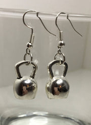 Kettlebell Dangle Earrings, Fitness Jewelry, Kettlebell Jewelry Silver, Workout Earrings, Weightlifting Earrings, Gifts for Fitness Lovers
