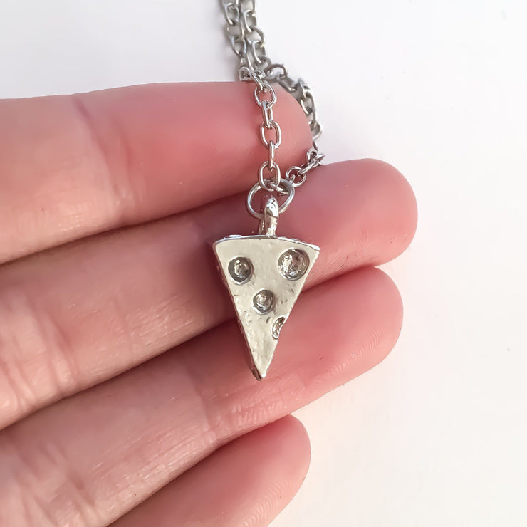 Pizza Necklace Silver, Friendship Necklace, Best Friend Gift, Gold Pizza Jewelry, Pizza Lover Gift, Cheesy Pizza Charm, BFF Gift, Birthday