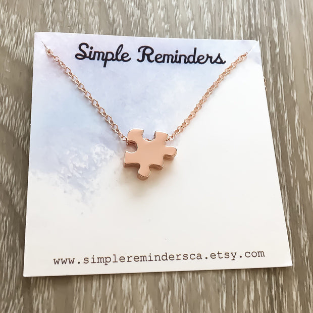 Tiny Puzzle Necklace, Minimalist Rose Gold Puzzle Piece, Autism Awareness Gift, Jigsaw Puzzle Jewelry, Gift for Mother, Dainty Necklace