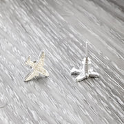 Tiny Airplane Stud Earrings, Silver Airplane Earrings, Dainty Airplane Jewelry, Minimalist Stud Earrings, Travel Gift, Travel Jewelry, Boho
