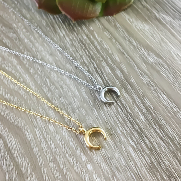 Dainty Moon Necklace, Crescent Moon Pendant, Double Tusk Necklace, Gold Moon Jewelry, Layering Necklace, Silver Celestial Jewelry, Zodiac