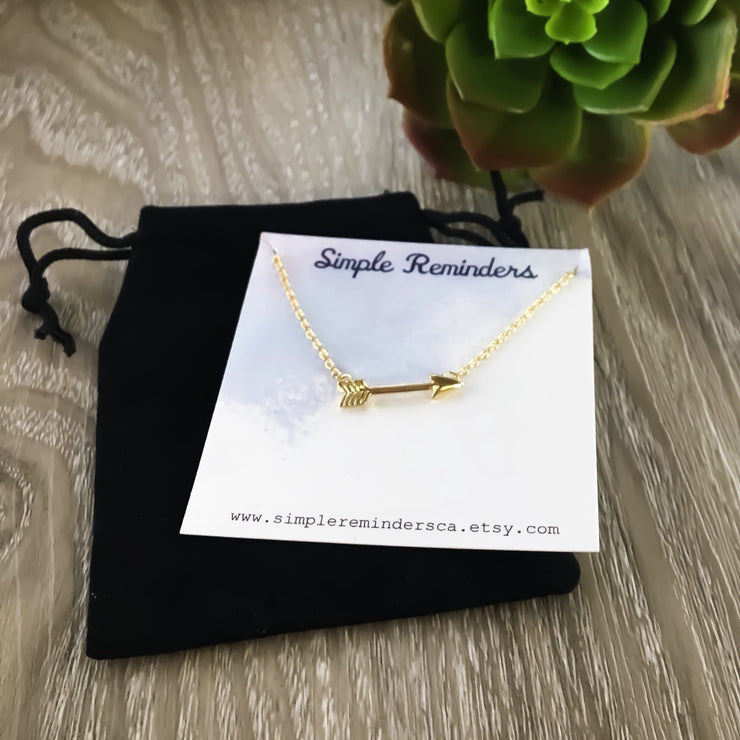 Fearless Arrow Necklace, Dainty Arrow Jewelry, Friendship Gifts, Tiny Silver Arrow Pendant, Gold Sideways Arrow Necklace, Layering Necklace