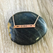 Be Brave Pendant, Fearless Rose Gold Bar Necklace, Friendship Arrow Jewelry, Dainty Jewelry, Inspirational Necklace Gift, Balance Necklace