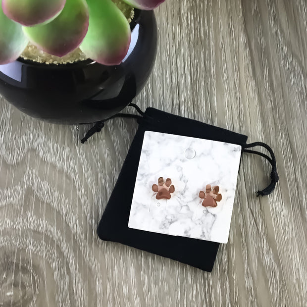 Tiny Paw Print Stud Earrings, Rose Gold Earrings, Cat Jewelry, Dog Stud Earrings, Cat Lover Gift, Dainty Jewelry, Dog Owner Gift, Pet Owner