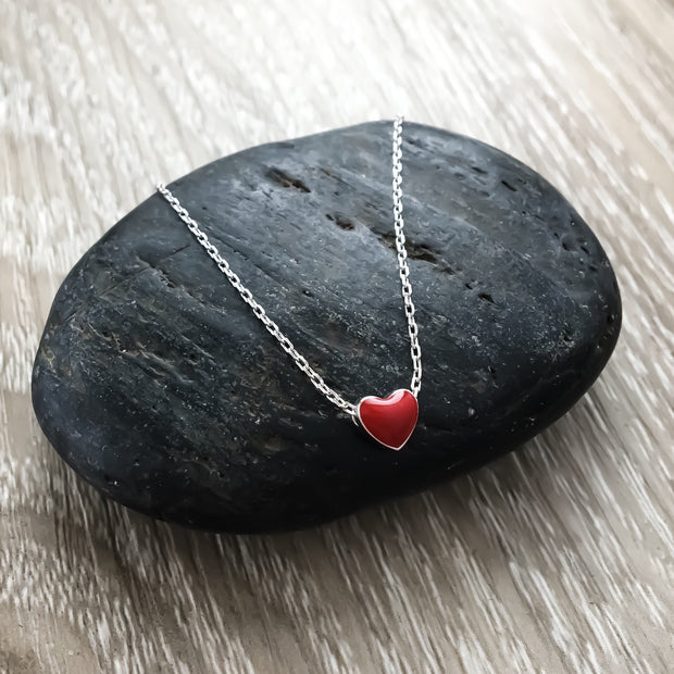 Infertility Jewelry, Tiny Red Heart Necklace, Miscarriage Gift, Sterling Silver Necklace, IVF Gift, Minimalist Heart Jewelry