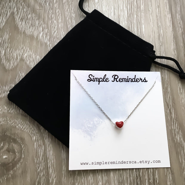 Stepdaughter Gift, Tiny Red Heart Necklace, Dainty Heart Pendant, Sterling Silver Necklace, Gift from Step Mom, Minimalist Heart Jewelry