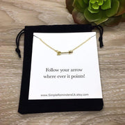 Follow Your Arrow Necklace, Dainty Arrow Jewelry, Friendship Gifts, Tiny Gold Arrow Pendant, Silver Sideways Arrow Necklace, Minimalist