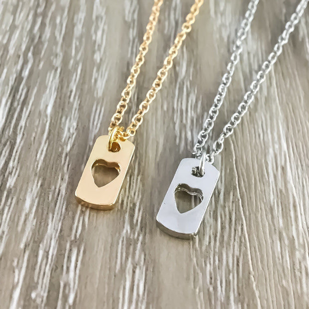 Sister Necklace, Heart Dog Tag Pendant, Big Sister Necklace, Dainty Gold Heart Jewelry, Little Sister Gift, Gift from Sister, Sorority Gift