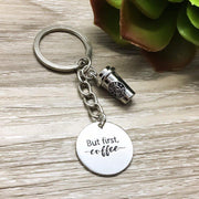 Coffee Lover Keychain, Coffee Cup Charm Keychain, Silver Coffee Jewelry, Stainless Steel Laser Charm, But First Coffee, Coffee Addict, Moms
